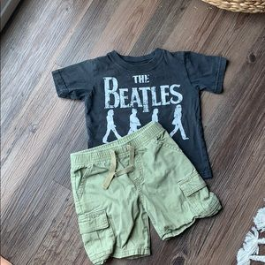 Adorable Beatles Tee and Cargo Shorts Outfit